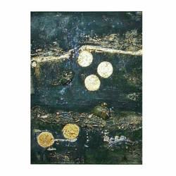 Acrylic with golden leaf on convas 30 x40 cm