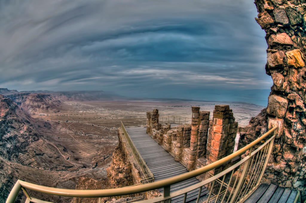 Masada with  fish eye by haimohayon