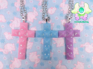 Pastel Studded Cross Necklaces