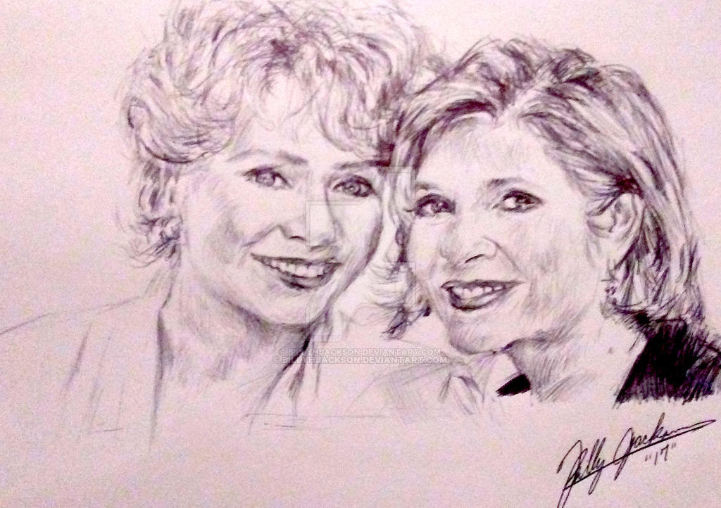 Debbie Reynolds and Carrie Fisher Portrait by billyhjackson