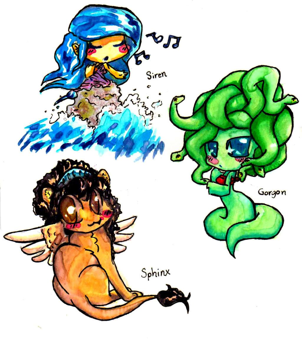 Greek mythology creature chibi's 1 by Inya-spring