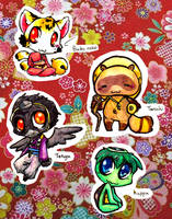 Japanese mythical creatures chibi's 1 by Inya-spring