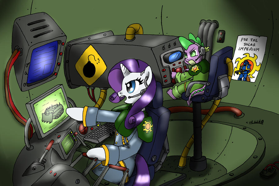 Rarity and Spike in the Royal Tank Squad by CIRILIKO