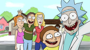 Rick and Morty with family wallpaper