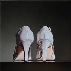 Shoes 3, 2018, 40 x 40 cm, oil on canvas by christopheberle
