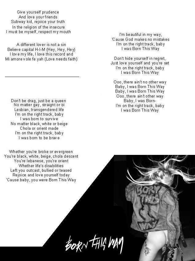 Lyric ain t no way lyrics : Born This Way Lyrics Part 2 by gaga-fanno1 on DeviantArt