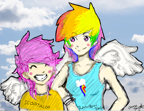 Rainbow Dash And Scootaloo Human Human Scootaloo n Rainbow Dash