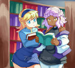 2 GIRLS IN A LIBRARY