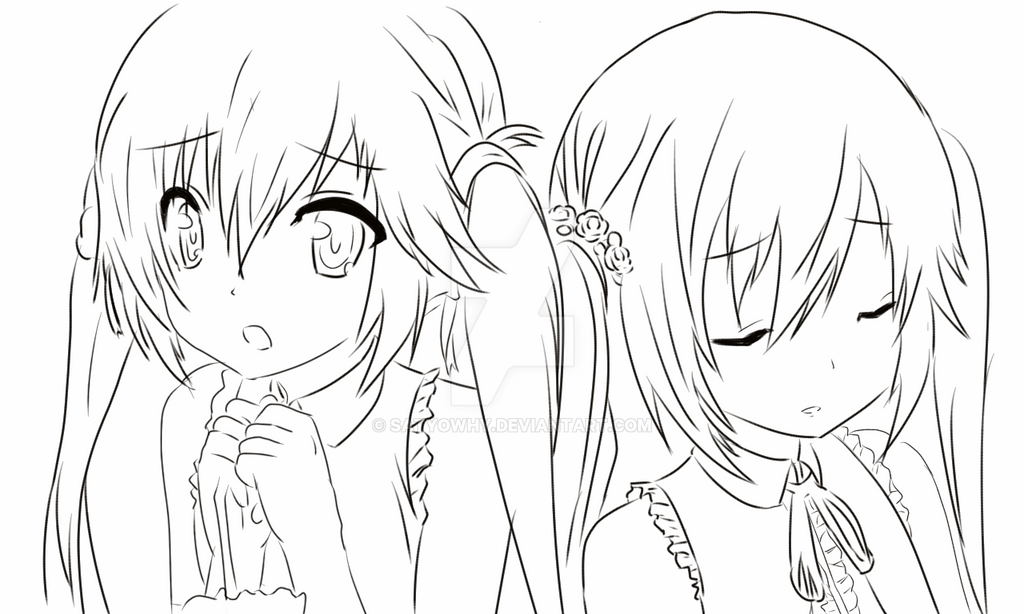 anime sisters coloring pages - photo#10