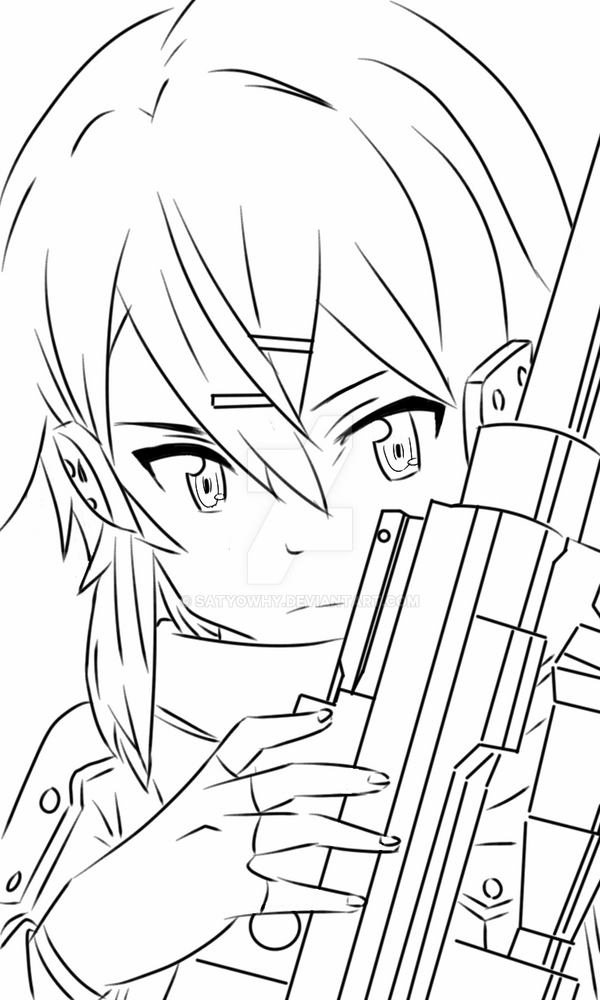 Sinon Render Lineart 5 By Satyowhy On DeviantArt