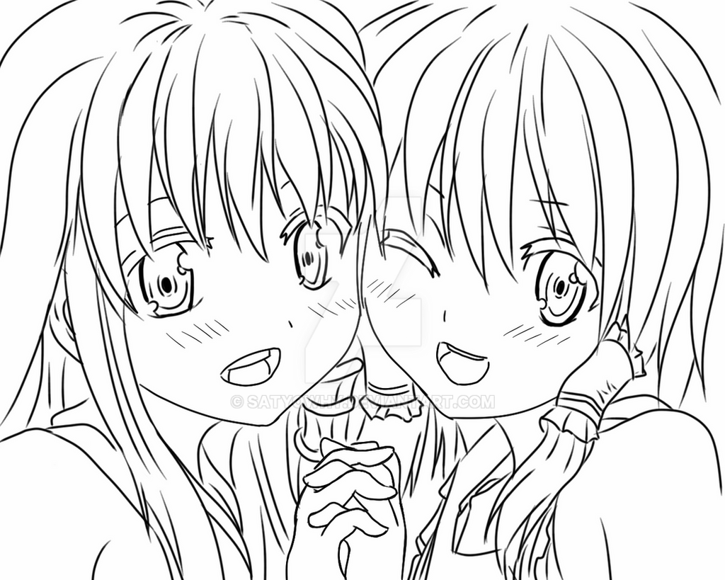 anime sisters coloring pages - photo#9