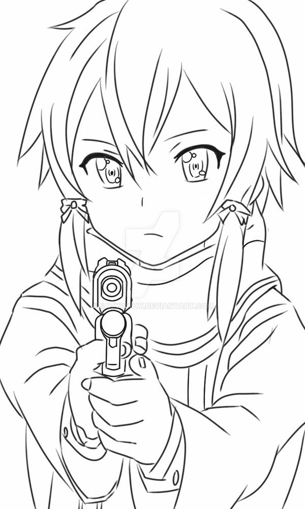 Line Art Render : Sinon render lineart by satyowhy on deviantart