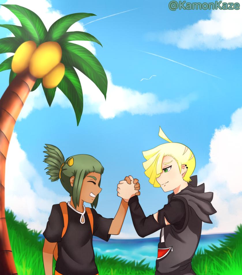 Gladion and Hau by KamonKaze