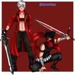 Dante Sparda and Strider Hiryu by KamonKaze