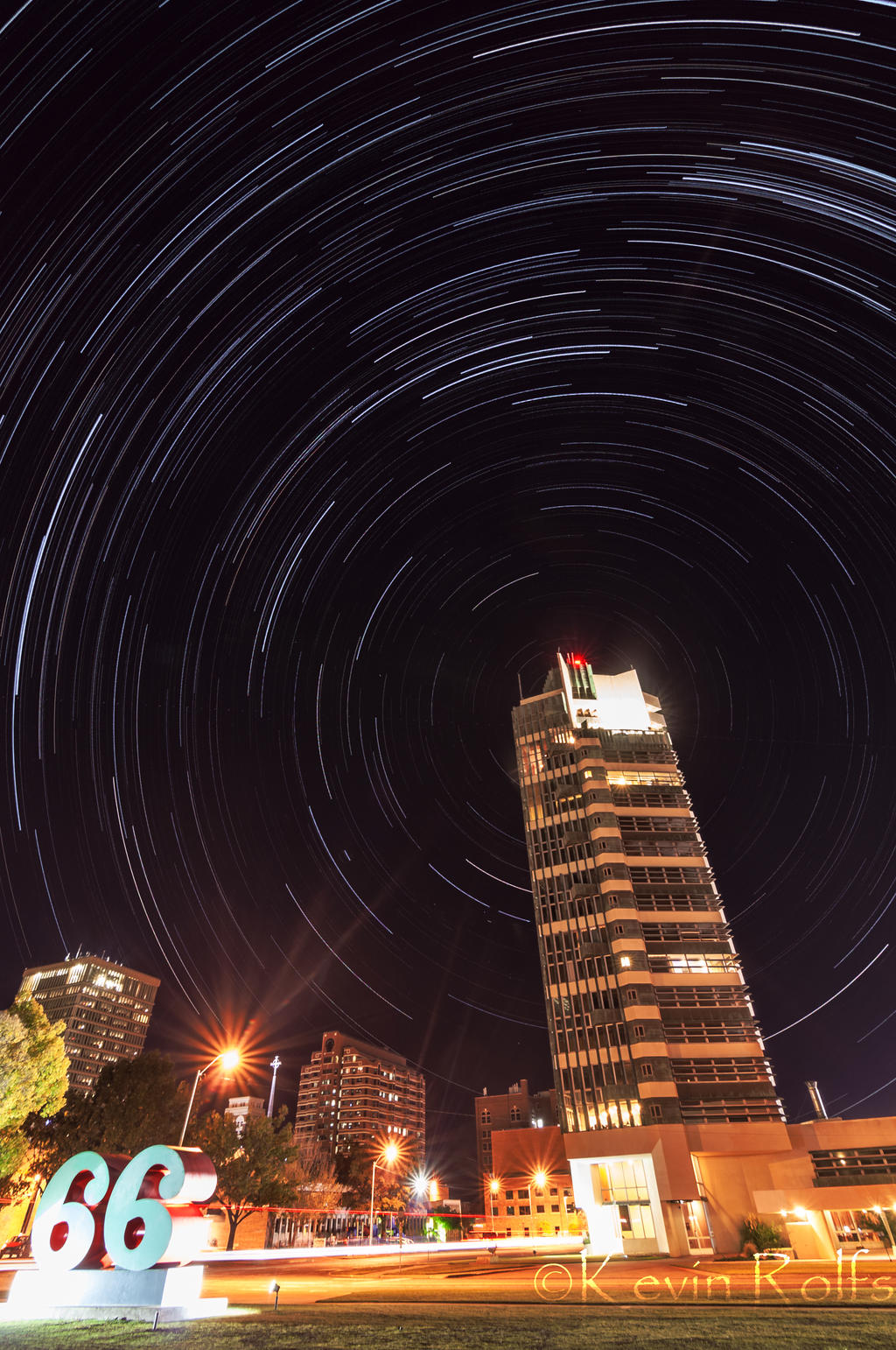 Price Tower Star Trail by Bvilleweatherman