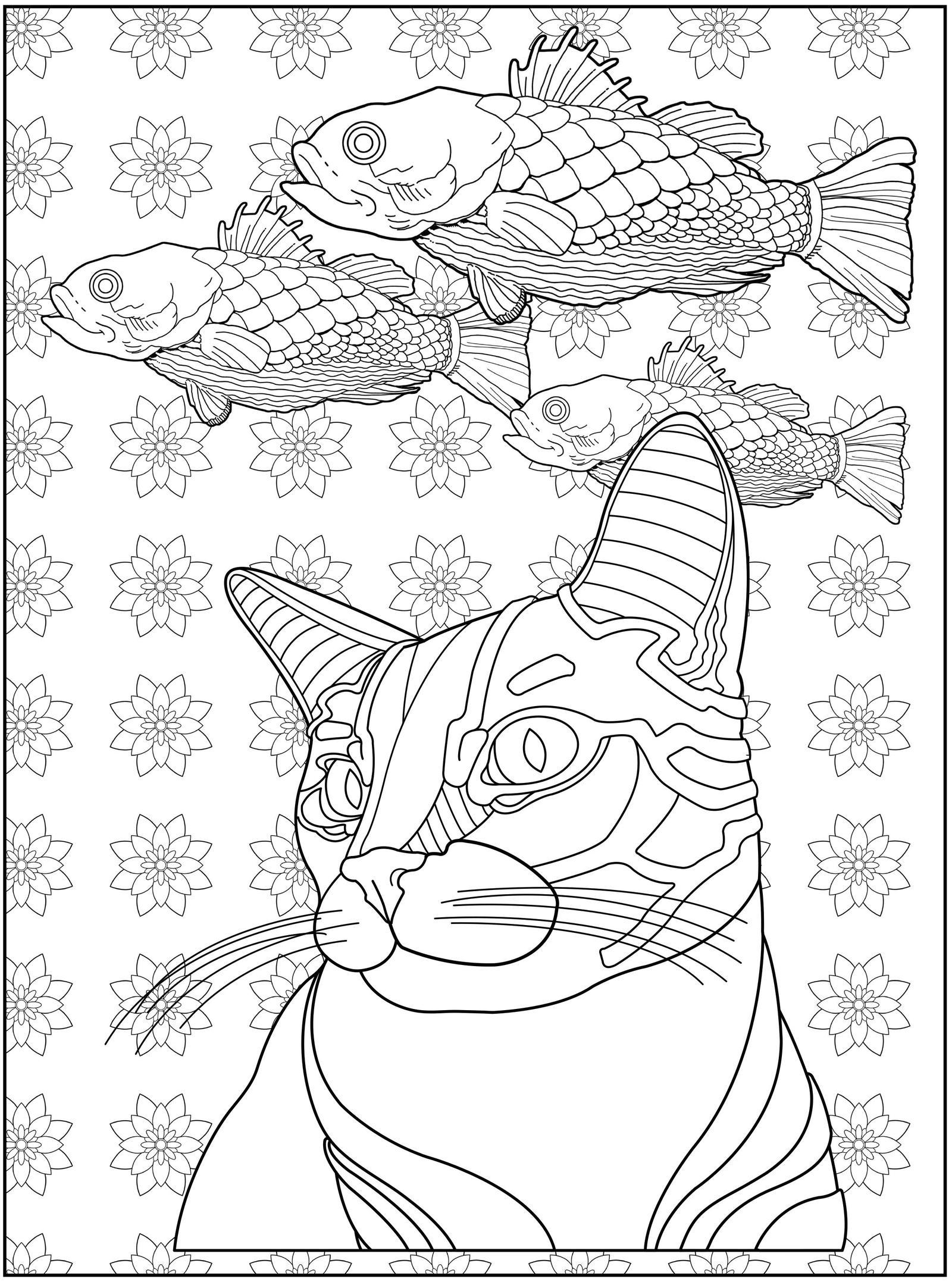 Dreaming Of Fish Coloring Page FELINE FANTASIA By BertramBelrose