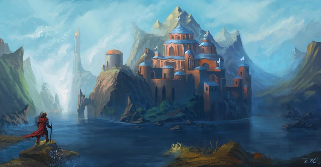 Walled city in sunlight by vennom07