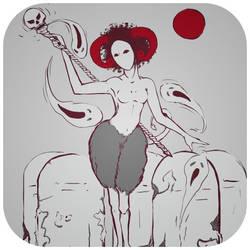 #inktober #drawlloween - RED MOON -