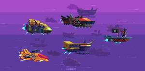 Mockup space pirate ships