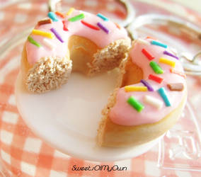 Strawberry Pink Doughnut Halves Keyrings