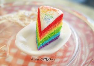 Rainbow Cake Slice Necklace