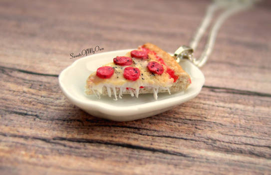 Pizza Necklace - Handmade using Polymer Clay
