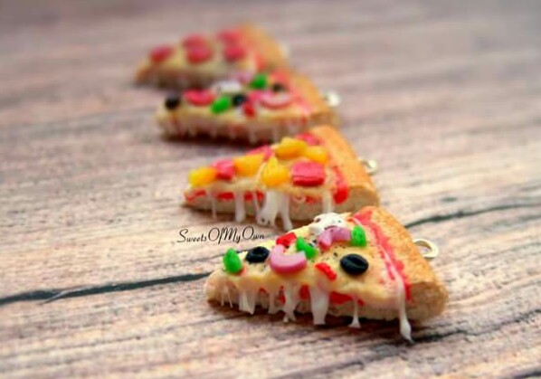 Pizza Slice Dangle Earrings - with 4 Toppings by SweetsOfMyOwn