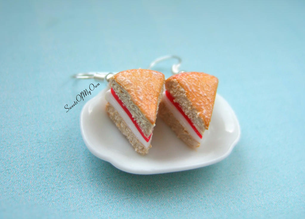 Victoria Sponge Cake Dangle Earrings by SweetsOfMyOwn