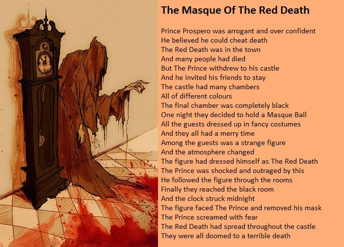 a literary analysis of the masque of red death Masque of the red death lesson plan procedures read the story divide students into groups of four or five (seven groups is ideal)  how to write a literary analysis.
