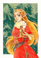 Breath of the Wild - Santa Zelda by Olyvee