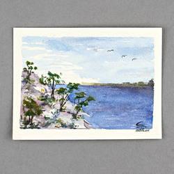 Watercolor Seacliff
