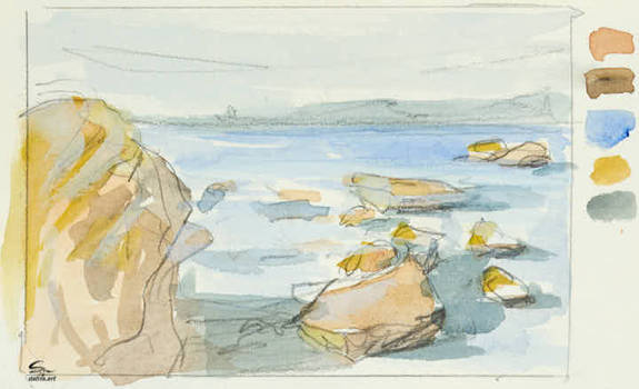 Rocky Beach Sketch 1