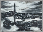 Lighthouse Monochrome Painting by StatiraArt