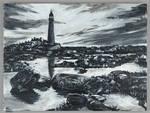 Lighthouse Monochrome Painting