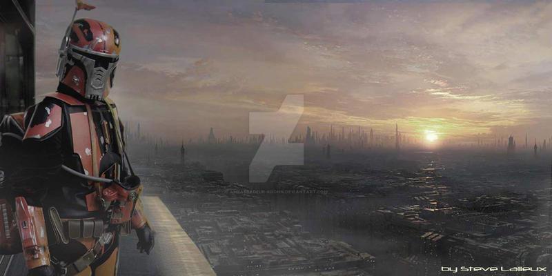 Mandalorian on Coruscant by Ambassadeur-Krohn