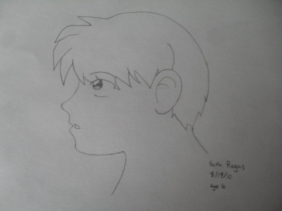 anime boy head side view by 12000101