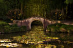 Oriental bridge on a pond