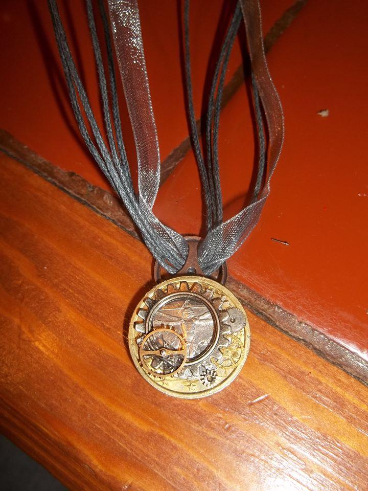 Steampunk Da Vinci Italian Euro Necklace by supremetechgoddess