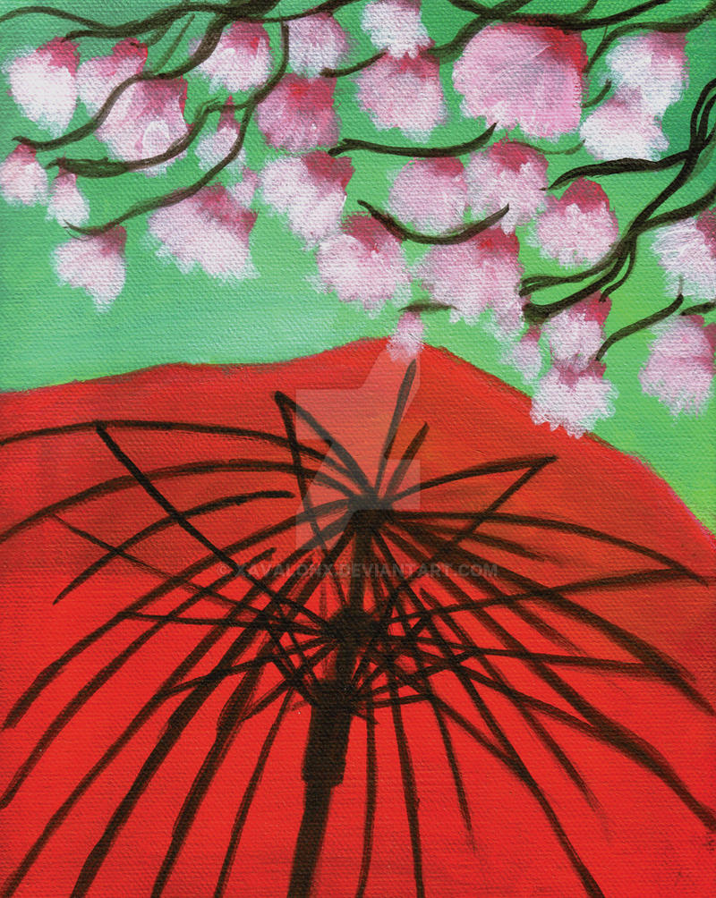The Red Umbrella and Pink Magnolias by XavalonX