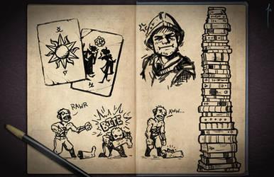 Jester's Sketchbook - spread 01 by JoannaJohnen
