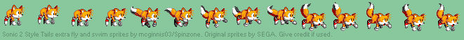 Sonic 2 Style Tails extra fly and swim sprites
