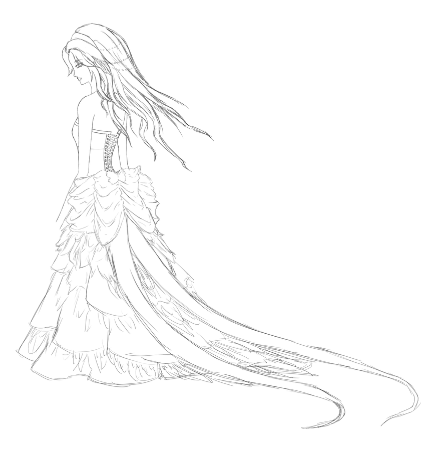 Line drawing dress : Pheasant dress sketch lineart by a r t m i s on deviantart
