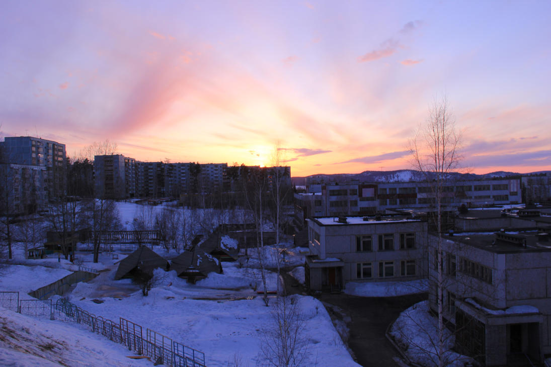 Spring Evening at Ust-Ilimsk by Sicilium