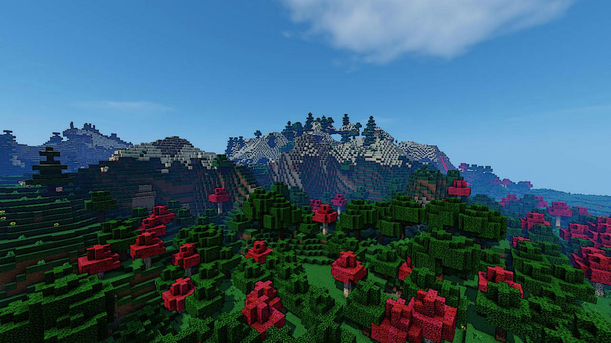 Minecraft Spring Mountains WP by Sicilium