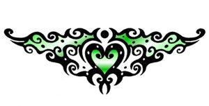 Tattoo heart fun green by DesignTheSkinYourIn