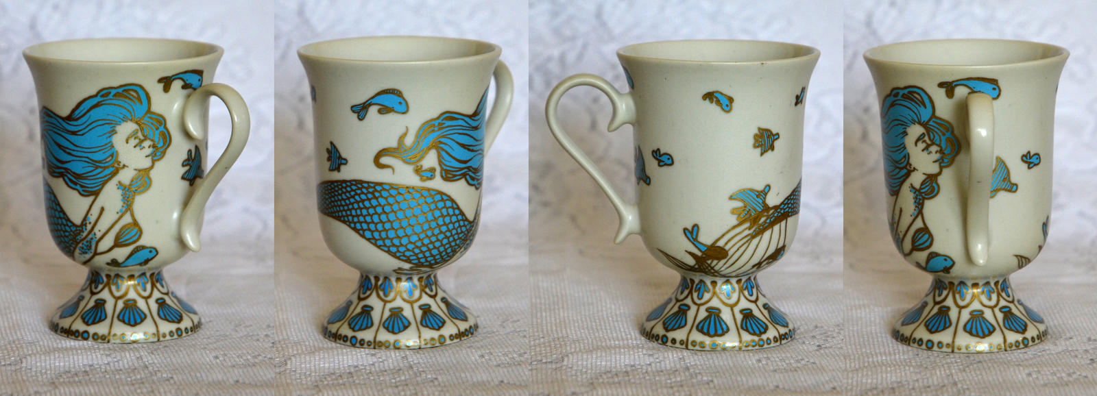 Fancy Teal and Gold Mermaid Mug by AucoinArt