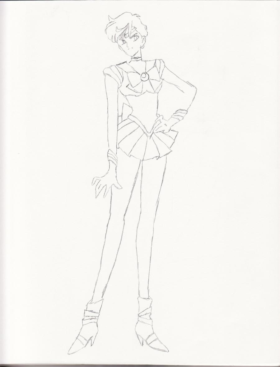 sailor uranus v1 sketch by sugaredkittie on deviantart