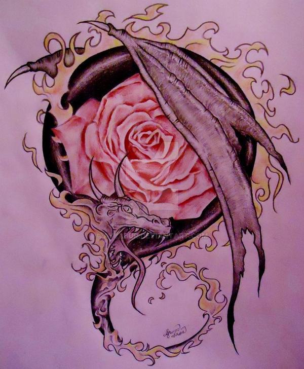 dragon rose tattoo design by aylabur on deviantart. Black Bedroom Furniture Sets. Home Design Ideas