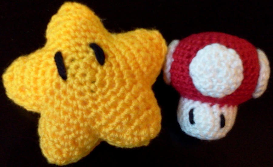 Amigurumi Mario Star and Mushroom by Dima402 on deviantART
