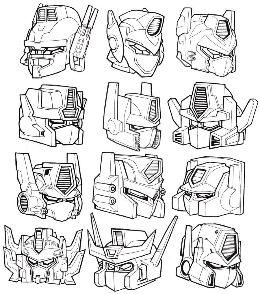 12 Optimus Prime-Convoy heads. by JoelRCarroll